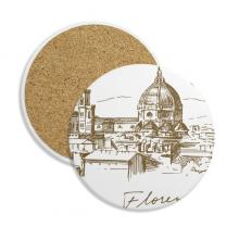 佛罗伦萨大教堂意大利地标素描 圆形杯垫水杯隔热垫2片装礼品礼物
