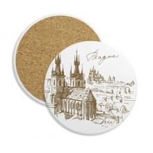 布拉格广场捷克地标图案 圆形杯垫水杯隔热垫2片装礼品礼物