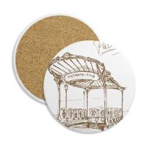 大都会地铁站法国巴黎地标图案 圆形杯垫水杯隔热垫2片装礼品礼物