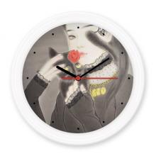 谜底-黑猫中国古风插画 圆形无声挂钟壁钟钟表家居装饰礼物