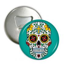 藤蔓骷髅头花十字架墨西哥 圆形开瓶器冰箱贴厨房装饰瓶起子礼物3件