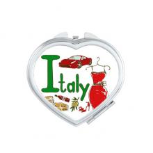 意大利地标象征图案 心形化妆小镜子便携迷你双面镜礼物