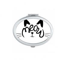 猫头创意手绘文字设计 椭圆形化妆小镜子便携迷你双面镜礼物