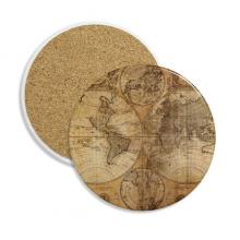 世界地图纹理花纹背景 圆形陶瓷杯垫水杯隔热垫2片装礼品礼物