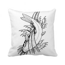 纹鱼海草传统进食圏 方形抱枕靠枕沙发靠垫双面含芯礼物