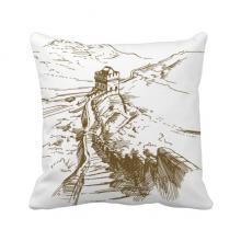 长城国家地标风景素描 方形抱枕靠枕沙发靠垫双面含芯礼物