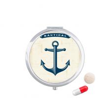 船锚海军蓝色军事军队插画 圆形药盒便携镜子迷你药丸盒子礼物
