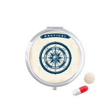指南针海军蓝色海洋军事军队插画 圆形药盒便携镜子迷你药丸盒子礼物