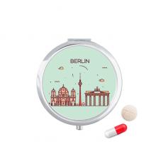 德国柏林扁平化城市地标图案 圆形药盒便携镜子迷你药丸盒子礼物