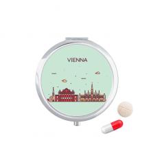 奥地利维也纳扁平化城市地标图案 圆形药盒便携镜子迷你药丸盒子礼物