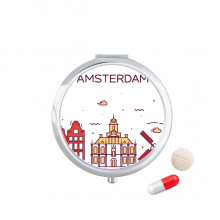 荷兰阿姆斯特丹扁平化城市地标图案 圆形药盒便携镜子迷你药丸盒子礼物