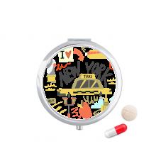 美国纽约出租车插画图案 圆形药盒便携镜子迷你药丸盒子礼物