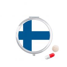 芬兰国旗欧洲国家象征符号图案 圆形药盒便携镜子迷你药丸盒子礼物