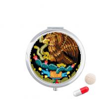墨西哥国徽标志符号图案 圆形药盒便携镜子迷你药丸盒子礼物