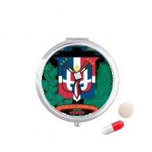 多米尼加国徽标志符号图案 圆形药盒便携镜子迷你药丸盒子礼物