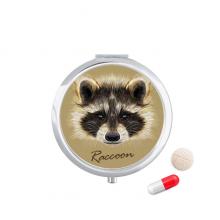 小的淘气的棕色浣熊动物 圆形药盒便携镜子迷你药丸盒子礼物