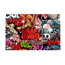 涂鸦街头彩色骷髅墙画 防滑地垫地毯卧室卫生间地板法兰绒垫礼物