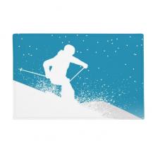 冬季运动滑雪水彩 防滑地垫地毯卧室卫生间地板法兰绒垫礼物