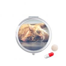 动物活泼猫咪摄影 圆形药盒便携镜子迷你药丸盒子礼物