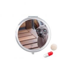 动物大耳朵猫咪图 圆形药盒便携镜子迷你药丸盒子礼物