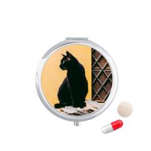 动物酷黑色猫咪摄影 圆形药盒便携镜子迷你药丸盒子礼物