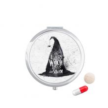 万圣节笔墨效果巫师帽 圆形药盒便携镜子迷你药丸盒子礼物