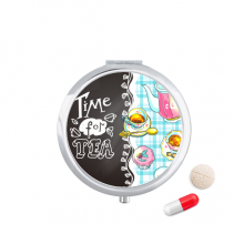 下午茶时间纸杯蛋糕法国 圆形药盒便携镜子迷你药丸盒子礼物