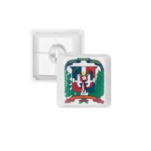 多米尼加国徽标志符号图案 键帽机械键盘PBT无刻白色键位OEM尺寸