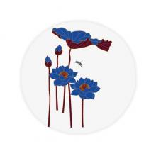 蓝色荷花荷叶蜻蜓图案 圆形地垫防滑地毯卧室宠物法兰绒垫60/50cm礼物