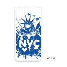 美国纽约自由女神像蓝色图案 iPhone X手机壳白框apple苹果X手机保护套礼物