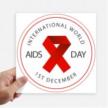 红丝带12月1日国际世界艾滋日公益团结符号 方形贴纸20cm摩托电脑贴画旅行箱装饰4片
