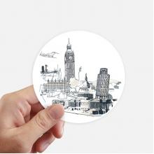 世界建筑比萨斜塔大本钟 圆形贴纸10cm摩托电脑贴画旅行箱装饰8片