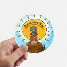 土拨鼠节美国加拿大庆典 圆形贴纸10cm摩托电脑贴画旅行箱装饰8片
