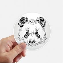 毛茸茸大熊猫动物肖像画 圆形贴纸10cm摩托电脑贴画旅行箱装饰8片