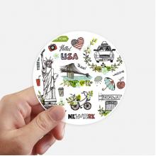 春天自由女神纽约美国涂鸦 圆形贴纸10cm摩托电脑贴画旅行箱装饰8片