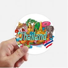 大皇宫大象泰国涂鸦 圆形贴纸10cm摩托电脑贴画旅行箱装饰8片