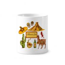 沙漠墨西哥金字塔宽边帽 陶瓷刷牙杯子笔筒白色马克杯礼物