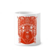 红色剪纸图案京剧脸谱 陶瓷刷牙杯子笔筒白色马克杯礼物