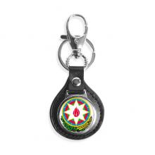 阿塞拜疆巴库国徽 汽车钥匙扣金属皮革链圈环挂件礼物