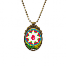 阿塞拜疆巴库国徽 椭圆形复古项链古铜色欧式吊坠礼物