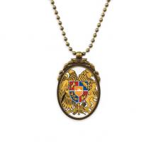 亚美尼亚埃里温国徽 椭圆形复古项链古铜色欧式吊坠礼物