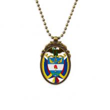 哥伦比亚国徽标志符号图案 椭圆形复古项链古铜色欧式吊坠礼物