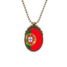 葡萄牙国旗欧洲国家象征符号图案 椭圆形复古项链古铜色欧式吊坠礼物
