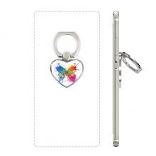 泼墨式蝴蝶剪影 心形手机支架指环黏贴懒人桌面支撑礼品