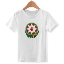 阿塞拜疆巴库国徽 儿童白色短袖T恤创意纪念衫个性T恤衫礼物