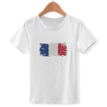 简约法国国旗马赛克拼图 儿童白色短袖T恤创意纪念衫个性T恤衫礼物