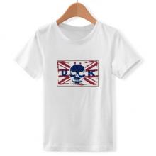 骷髅英国地标国旗插画 儿童白色短袖T恤创意纪念衫个性T恤衫礼物
