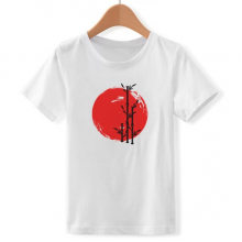 红黑竹子抽象 日本 儿童白色短袖T恤创意纪念衫个性T恤衫礼物