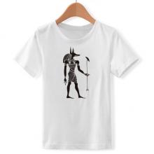 埃及黑白阿努比斯兽人 儿童白色短袖T恤创意纪念衫个性T恤衫礼物