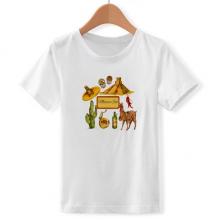 沙漠墨西哥金字塔宽边帽 儿童白色短袖T恤创意纪念衫个性T恤衫礼物